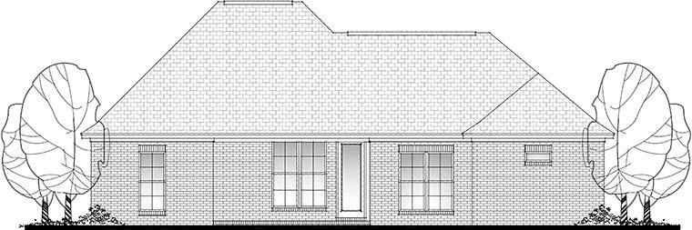 Country, French Country, Traditional House Plan 56991 with 3 Beds, 2 Baths, 2 Car Garage Rear Elevation