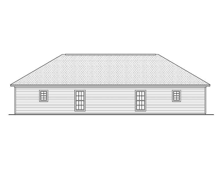 Country, Ranch Multi-Family Plan 56995 with 4 Beds, 4 Baths Rear Elevation