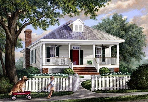 Colonial, Southern, Traditional House Plan 57065 with 3 Beds, 2 Baths Elevation