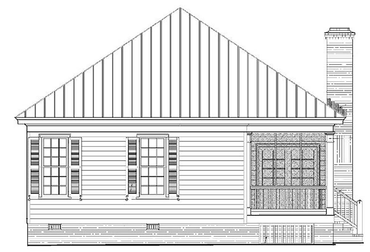 Colonial, Southern, Traditional House Plan 57065 with 3 Beds, 2 Baths Rear Elevation