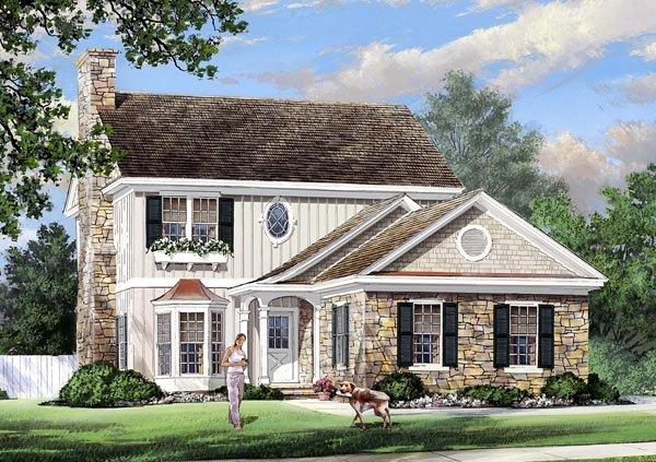 Traditional House Plan 57067 with 4 Beds, 4 Baths, 2 Car Garage Elevation