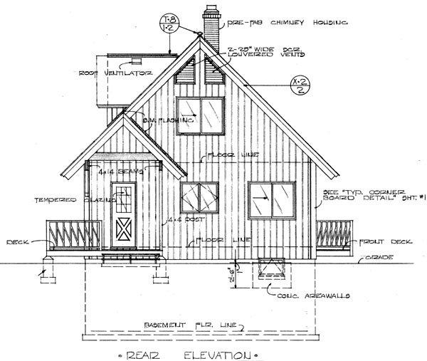 Cabin, Contemporary, Country, Narrow Lot House Plan 57340 with 3 Beds, 2 Baths, 1 Car Garage Rear Elevation
