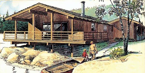 Cabin, One-Story, Retro House Plan 57369 with 3 Beds, 2 Baths, 1 Car Garage Elevation