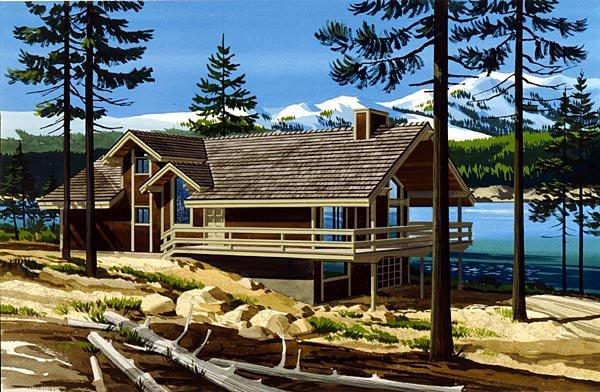 Narrow Lot, One-Story, Ranch House Plan 57413 with 2 Beds, 2 Baths Elevation