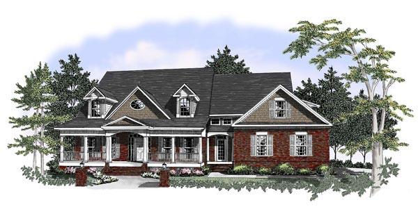 Southern House Plan 58030 with 4 Beds, 4.5 Baths, 3 Car Garage Elevation