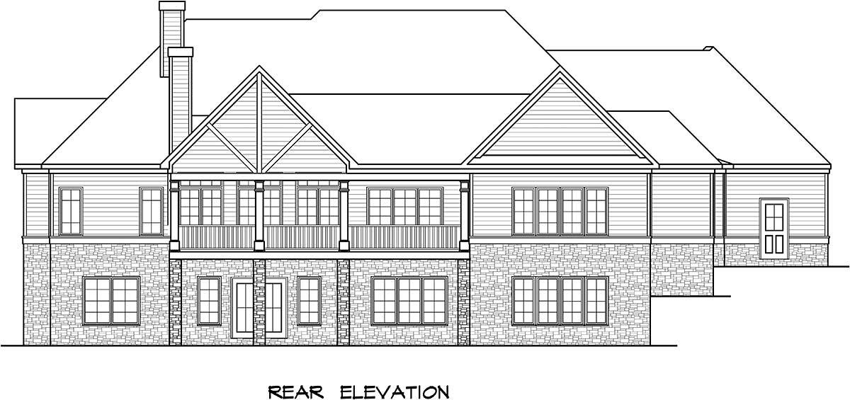 Craftsman House Plan 58253 with 4 Beds, 4 Baths, 2 Car Garage Rear Elevation