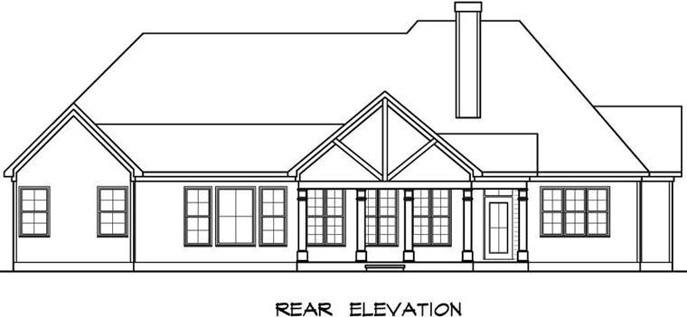 Craftsman House Plan 58257 with 3 Beds, 4 Baths, 2 Car Garage Rear Elevation