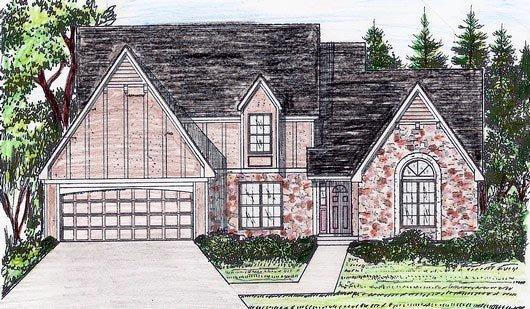 Traditional House Plan 58405 with 4 Beds, 3 Baths, 2 Car Garage Elevation