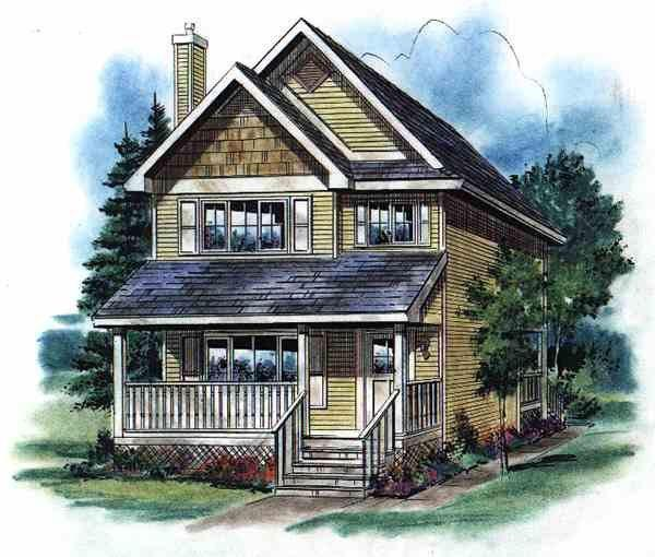House Plan 58500 with 3 Beds, 3 Baths Elevation