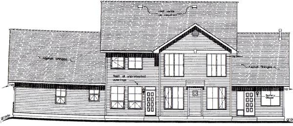 Country House Plan 58532 with 5 Beds, 4 Baths, 3 Car Garage Rear Elevation
