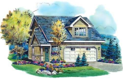 Cottage, Traditional 2 Car Garage Apartment Plan 58567 with 1 Beds, 1 Baths Elevation