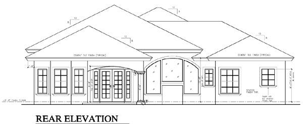 Florida, One-Story House Plan 58919 with 4 Beds, 4 Baths, 2 Car Garage Rear Elevation