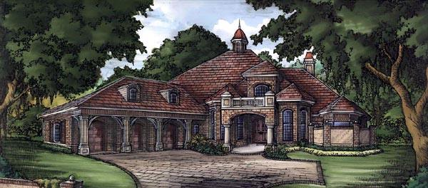 Florida, One-Story House Plan 58935 with 4 Beds, 4 Baths, 3 Car Garage Elevation