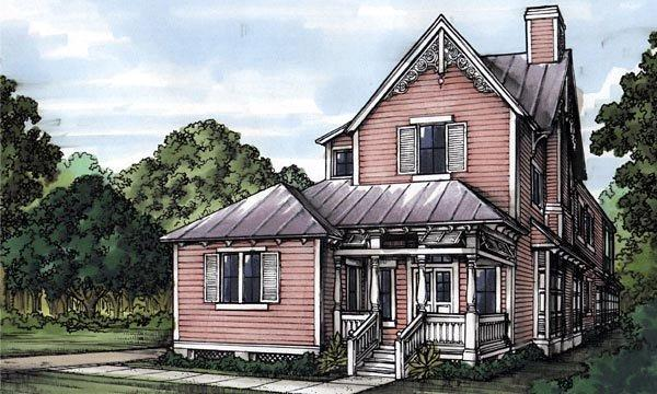 Narrow Lot, Victorian House Plan 58945 with 3 Beds, 4 Baths, 1 Car Garage Elevation
