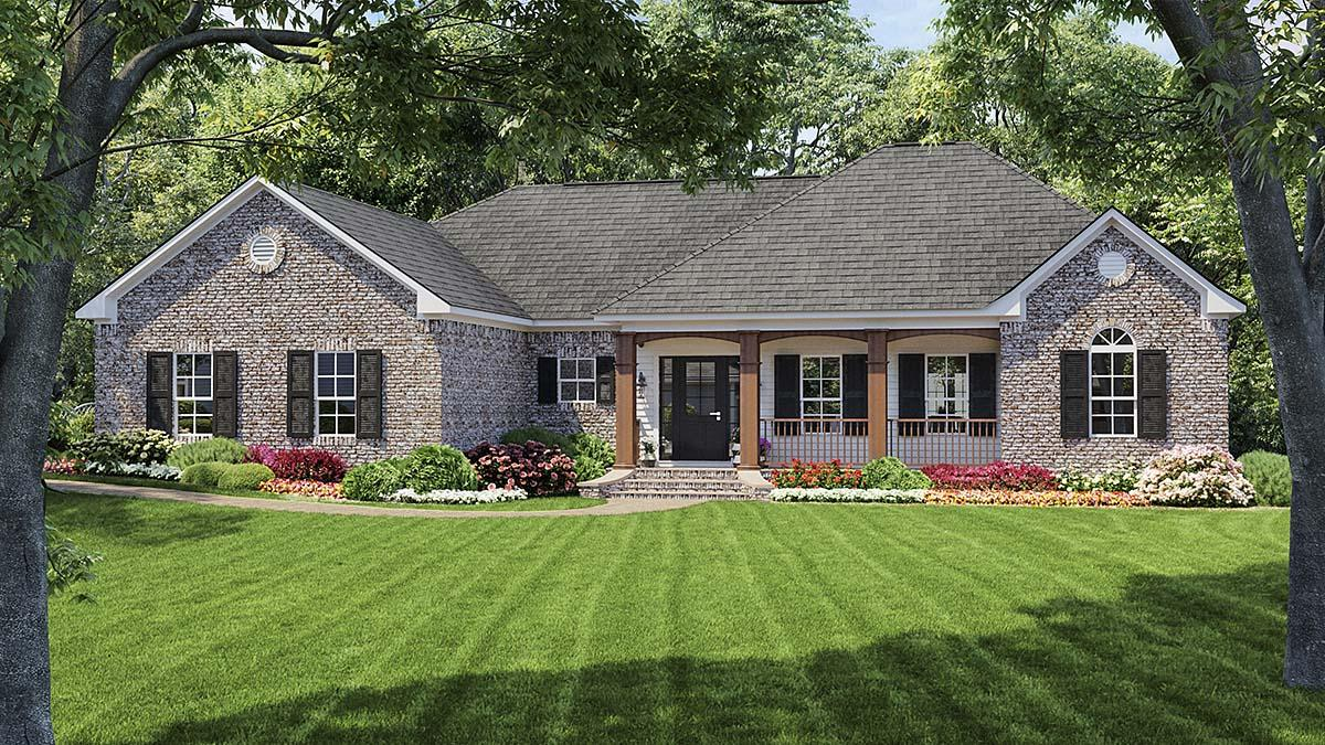 Colonial, European, Traditional House Plan 59009 with 3 Beds, 2 Baths, 2 Car Garage Elevation