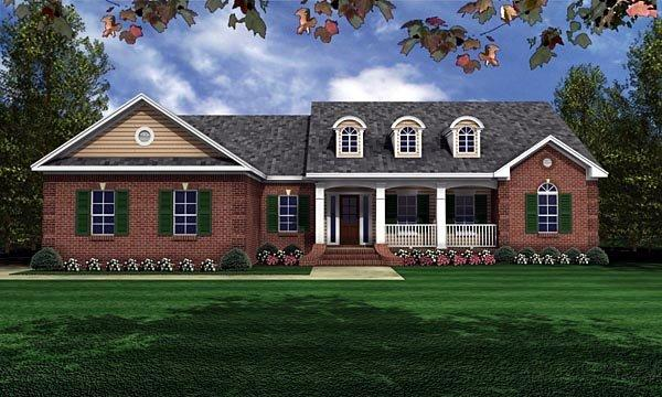 European, Ranch, Traditional House Plan 59011 with 3 Beds, 2 Baths, 2 Car Garage Elevation