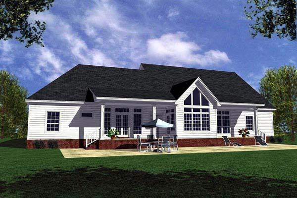 Country, Ranch, Southern, Traditional House Plan 59028 with 3 Beds, 3 Baths, 2 Car Garage Rear Elevation