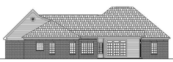 European, French Country, Ranch, Traditional House Plan 59031 with 3 Beds, 4 Baths, 2 Car Garage Rear Elevation