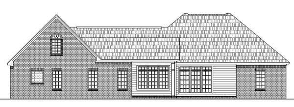 European, French Country, Ranch, Traditional House Plan 59032 with 3 Beds, 3 Baths, 2 Car Garage Rear Elevation