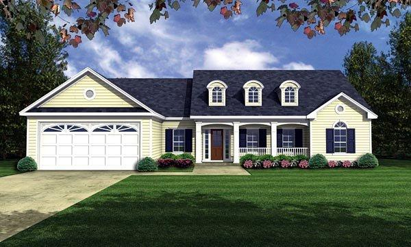 Country, European, Ranch, Traditional House Plan 59035 with 3 Beds, 2 Baths, 2 Car Garage Elevation