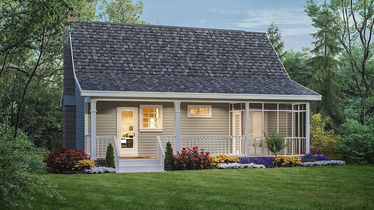Country, Southern House Plan 59040 with 2 Beds, 1 Baths Rear Elevation