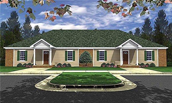 Country, Ranch Multi-Family Plan 59048 with 6 Beds, 4 Baths Elevation