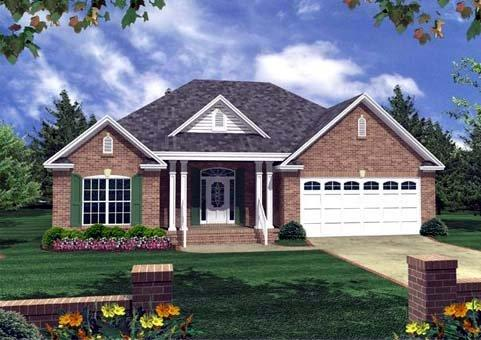 Cottage, Country, Southern, Traditional House Plan 59056 with 3 Beds, 2 Baths, 2 Car Garage Elevation