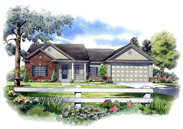 Cape Cod, Ranch, Traditional House Plan 59057 with 3 Beds, 2 Baths, 2 Car Garage Elevation