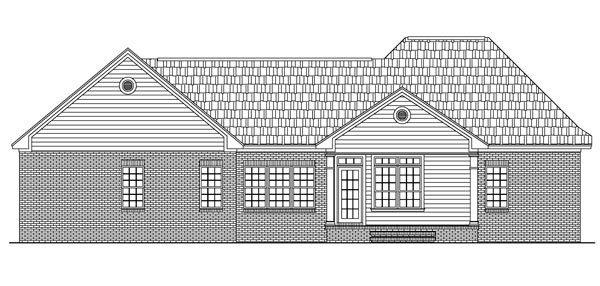 European, Ranch, Traditional House Plan 59069 with 3 Beds, 2 Baths, 2 Car Garage Rear Elevation