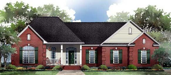 European, Ranch, Traditional House Plan 59087 with 3 Beds, 3 Baths, 3 Car Garage Elevation