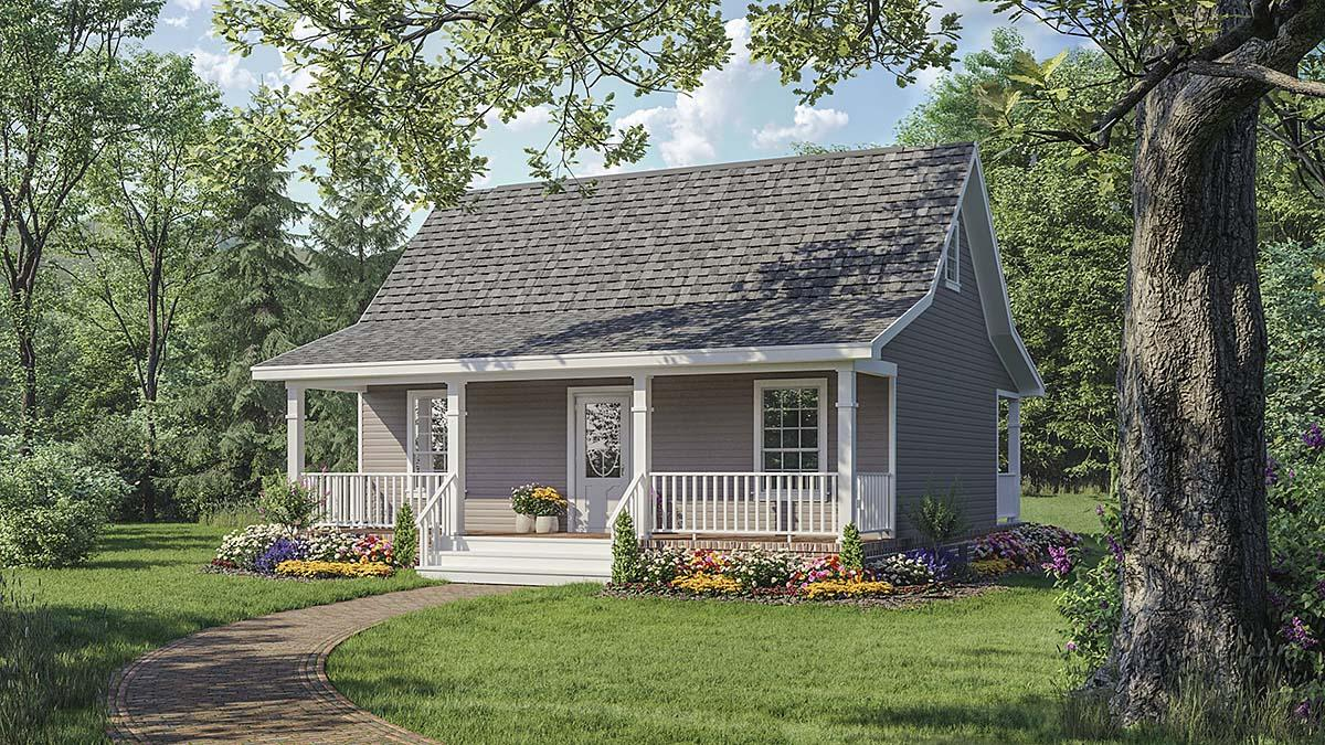 Cottage, Country, Farmhouse House Plan 59096 with 2 Beds, 1 Baths Elevation