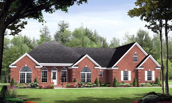 Country, European, Traditional House Plan 59128 with 3 Beds, 3 Baths, 2 Car Garage Elevation