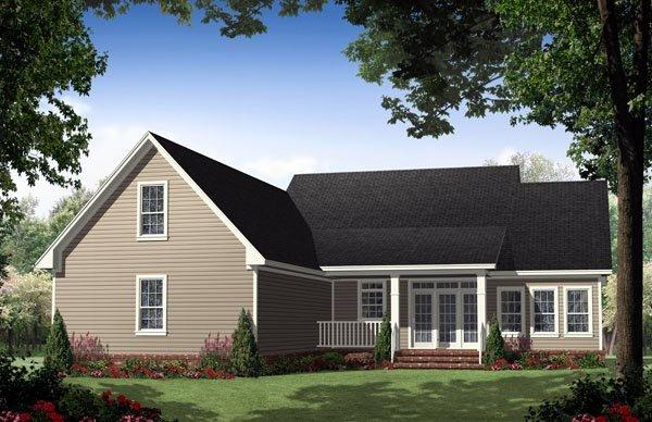 Country, Ranch, Traditional House Plan 59134 with 3 Beds, 3 Baths, 2 Car Garage Rear Elevation