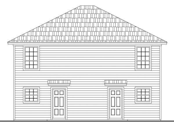Country, Southern, Traditional Multi-Family Plan 59141 with 4 Beds, 4 Baths Rear Elevation
