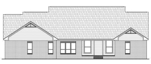 Country, European, Traditional House Plan 59144 with 4 Beds, 4 Baths, 2 Car Garage Rear Elevation