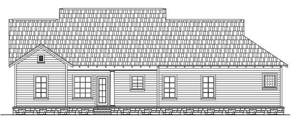 Bungalow, Craftsman House Plan 59146 with 3 Beds, 2 Baths, 2 Car Garage Rear Elevation
