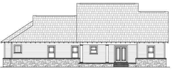 Cottage, Country, Craftsman House Plan 59170 with 3 Beds, 3 Baths, 2 Car Garage Rear Elevation