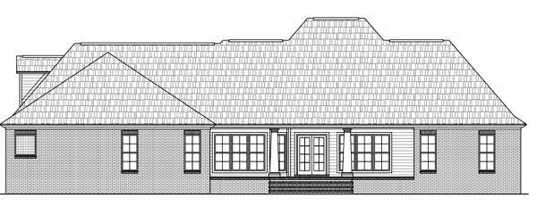 Country, European, French Country, Southern House Plan 59176 with 4 Beds, 3 Baths, 2 Car Garage Rear Elevation