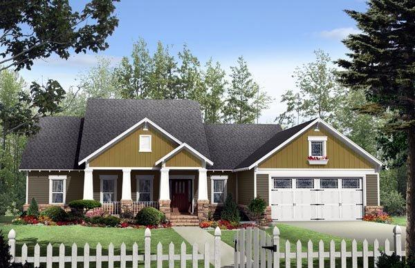 Cottage, Country, Craftsman House Plan 59177 with 3 Beds, 2 Baths, 2 Car Garage Elevation