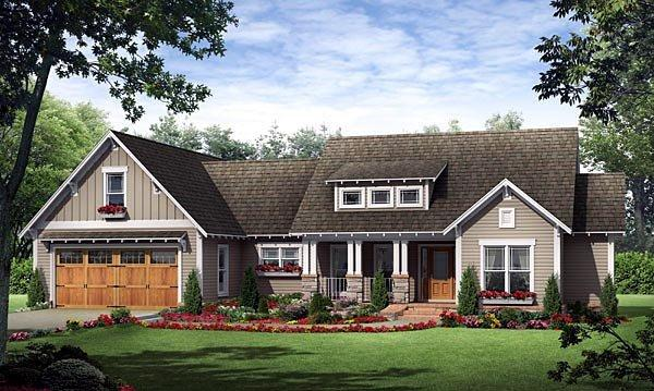 Country, European, French Country, Traditional House Plan 59182 with 3 Beds, 2 Baths, 2 Car Garage Elevation