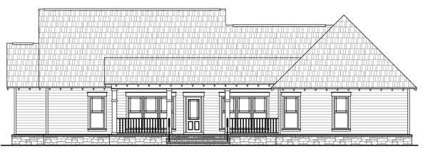 Country, European, French Country, Traditional House Plan 59182 with 3 Beds, 2 Baths, 2 Car Garage Rear Elevation