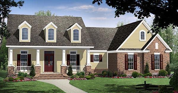 Country, Craftsman, European, Traditional House Plan 59188 with 4 Beds, 3 Baths, 2 Car Garage Elevation