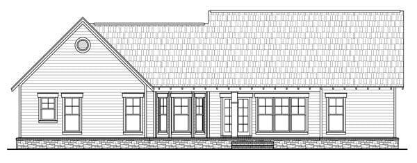 Bungalow, Craftsman, Traditional House Plan 59201 with 3 Beds, 2 Baths, 2 Car Garage Rear Elevation