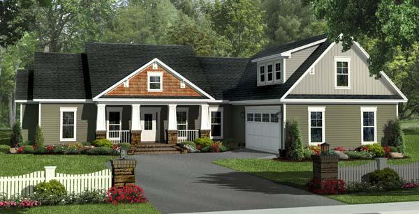Bungalow, Craftsman, Traditional House Plan 59212 with 4 Beds, 3 Baths, 2 Car Garage Elevation