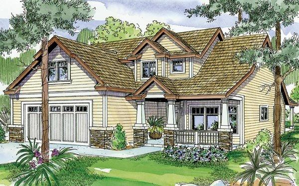 Bungalow, Cottage, Craftsman House Plan 59705 with 3 Beds, 3 Baths, 2 Car Garage Elevation