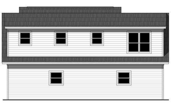 Cottage, Craftsman, Traditional 3 Car Garage Apartment Plan 59948 with 1 Beds, 1 Baths Rear Elevation