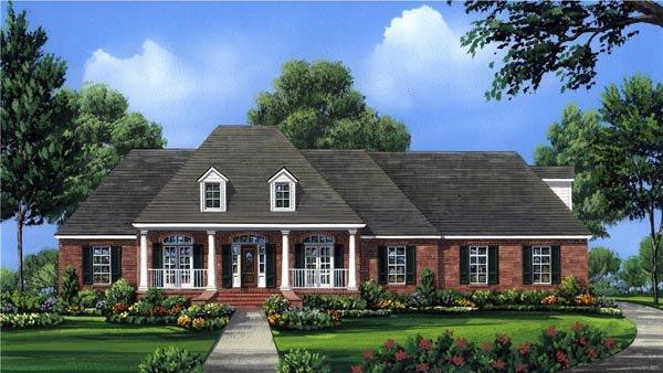 Country, European, French Country, Southern House Plan 59956 with 4 Beds, 4 Baths, 3 Car Garage Elevation