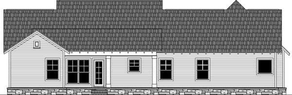 Cottage, Country, Craftsman House Plan 59974 with 3 Beds, 3 Baths, 2 Car Garage Rear Elevation