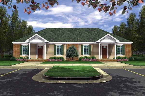 European, Traditional Multi-Family Plan 59986 with 4 Beds, 2 Baths Elevation