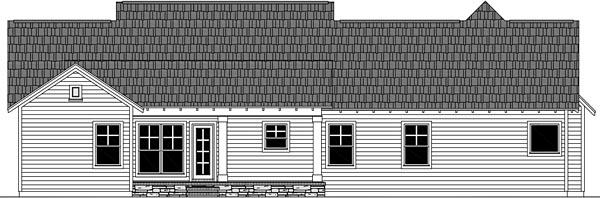 Cottage, Craftsman, Traditional House Plan 59989 with 3 Beds, 3 Baths, 2 Car Garage Rear Elevation
